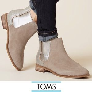 🆕Toms Genuine Suede &Metallic Accent Ankle Bootie